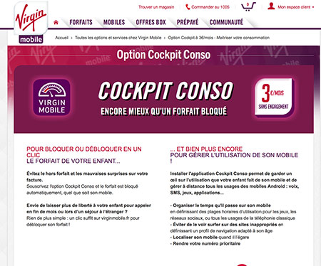 virgin mobile option cockpit conso